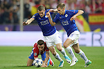 Atletico de Madrid's Saul Niguez (l) and Leicester City FC's Jamie Vardy (c) and Marc Albrighton (r) during Champions League 2016/2017 Quarter-finals 1st leg match. April 12,2017. (ALTERPHOTOS/Acero)
