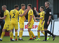 Fleetwood Town's Ashley Hunter celebrates  scoring  his sides second goal with   his fellow team mates<br /> <br /> Photographer Rachel Holborn/CameraSport<br /> <br /> Emirates FA Cup First Round - Alfreton Town v Fleetwood Town - Sunday 11th November 2018 - North Street - Alfreton<br />  <br /> World Copyright &copy; 2018 CameraSport. All rights reserved. 43 Linden Ave. Countesthorpe. Leicester. England. LE8 5PG - Tel: +44 (0) 116 277 4147 - admin@camerasport.com - www.camerasport.com