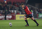9th December 2017, Thomond Park, Limerick, Ireland; European Rugby Champions Cup, Munster versus Leicester Tigers; Ian Keatley of Munster takes a kick at goal