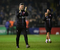 Lincoln City's assistant manager Nicky Cowley applauds the fans at the final whistle<br /> <br /> Photographer Chris Vaughan/CameraSport<br /> <br /> The Carabao Cup Second Round - Lincoln City v Everton - Wednesday 28th August 2019 - Sincil Bank - Lincoln<br />  <br /> World Copyright © 2019 CameraSport. All rights reserved. 43 Linden Ave. Countesthorpe. Leicester. England. LE8 5PG - Tel: +44 (0) 116 277 4147 - admin@camerasport.com - www.camerasport.com
