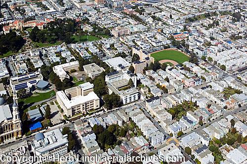 aerial photograph residential neighborhood at University of San Francisco USF San Francisco California