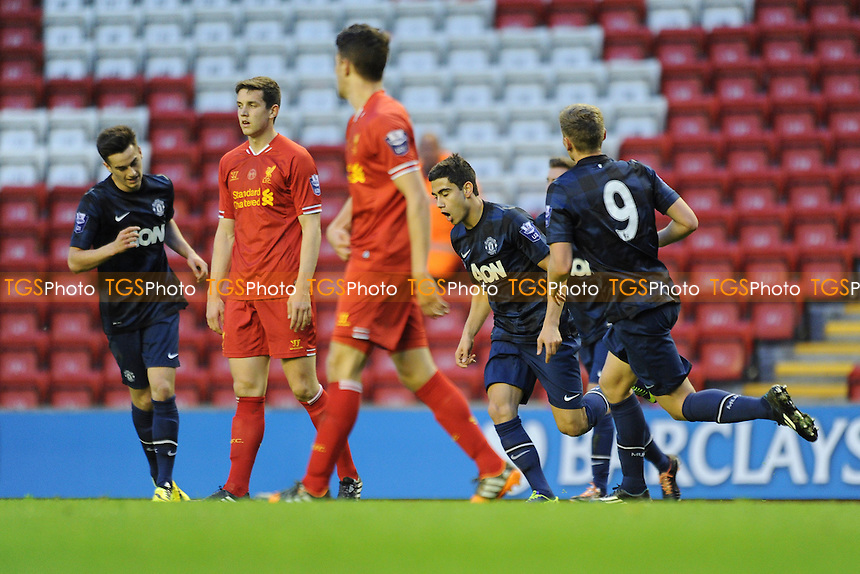 Andreas Pereira (centre) of Manchester United celebrates scoring the opener - Liverpool Under-21 vs Manchester United Under-21 - Barclays Under-21 Premier League Football at Anfield, Liverpool - 02/05/14 - MANDATORY CREDIT: Greig Bertram/TGSPHOTO - Self billing applies where appropriate - 0845 094 6026 - contact@tgsphoto.co.uk - NO UNPAID USE