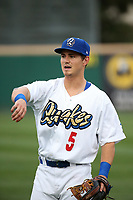 Zach McKinstry (5) of the Rancho Cucamonga Quakes throws before a game against the Modesto Nuts at LoanMart Field on August 2, 2017 in Rancho Cucamonga, California. Modesto defeated Rancho Cucamonga, 10-5. (Larry Goren/Four Seam Images)