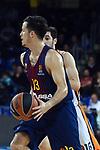 Turkish Airlines Euroleague 2017/2018.<br /> Regular Season - Round 8.<br /> FC Barcelona Lassa vs Valencia Basket: 89-71.<br /> Thomas Heurtel vs Guillem Vives.