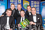 Kerry All Ireland winning captains Dara Ó Cinnéide Darren O'Sullivan, Liam Hassett, Seamus Moynihan, Fionn Fitzgerald (joint captain with Kieran O'Leary missing from picture and Declan O'Sullivan)  at the Kerry GAA launch of the The Magificant Seven DVD in the INEC on Saturday night