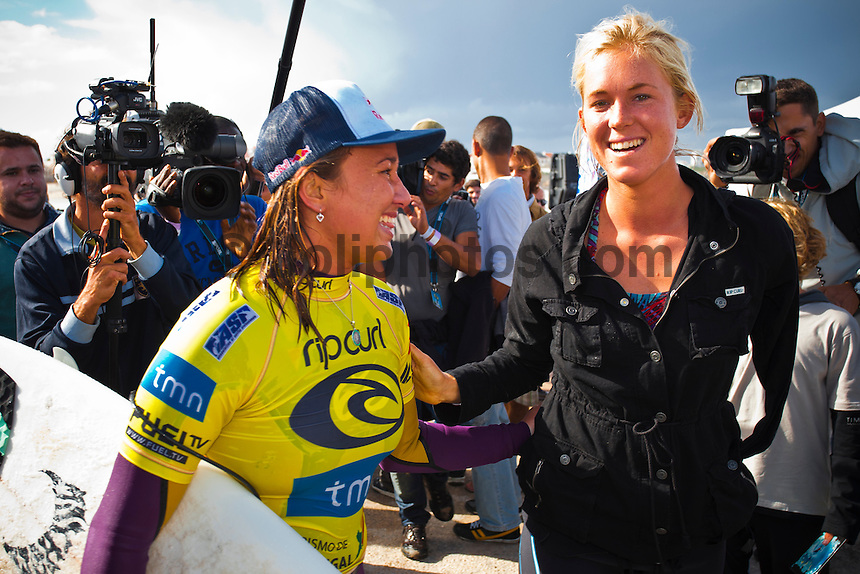 LAGIDE, Peniche/Portugal (Saturday, October 9, 2010) -Carissa Moore (HAW), 18, 2010 ASP Women's World Tour rookie, has claimed her second career victory today, taking out the Rip Curl Women's Pro Portugal over reigning three-time ASP Women's World Champion and current ASP Women's World No. 1, Stephanie Gilmore (AUS), 22, in offshore six-to-eight-foot (2.5 metre) waves at the backup venue of Lagide.. The young Hawaiian was the dominant surfer from the outset of the event, consistently notching up the highest heat and wave scores of the round, and continued her backhand decimation with an excellent 17.44 out of a possible 20 in the Final..The prodigious natural-footer had no easy path to her Final with Gilmore this afternoon, having to advance past Australians Sally Fitzgibbons (AUS), 19, and Claire Bevilacqua (AUS), 27, in her Quarterfinals and Semifinals respectively. The Rip Curl Pro Portugal will run from October 7 through 18, 2010..Photo: joliphotos.com