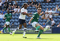 Sheffield Wednesday's Tom Lees clears under pressure from Preston North End's Daniel Johnson<br /> <br /> Photographer Rich Linley/CameraSport<br /> <br /> The Premier League - Preston North End v Sheffield Wednesday - Saturday August 24th 2019 - Deepdale Stadium - Preston<br /> <br /> World Copyright © 2019 CameraSport. All rights reserved. 43 Linden Ave. Countesthorpe. Leicester. England. LE8 5PG - Tel: +44 (0) 116 277 4147 - admin@camerasport.com - www.camerasport.com