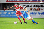 2015-10-31 / Voetbal / seizoen 2015-2016 / Hoogstraten VV - Tempo Overijse / Roy Mauro (l. Hoogstraten) met Ronald Loenders<br /><br />Foto: Mpics.be