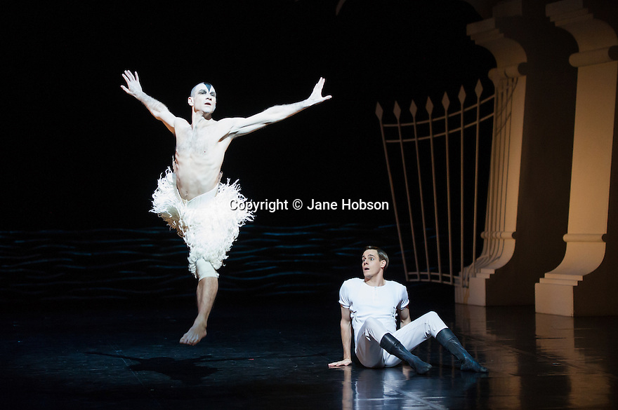 London, UK. 05.12.2013. Matthew Bourne's SWAN LAKE returns to Sadler's Wells. Jonathan Ollivier dances The Swan, with Sam Archer as The Prince. The remaining swans are: Michael Barnes, Tom Broderick, Otis-Cameron Carr, Reece Haydn Causton, Harry Clark, Tom Clark, Tom Cummings, Chris Agius Darmanin, Ivan Delgado Del Rio, Robin Gladwin, Glenn Graham, Tim Hodges, P J Hurst, Luke Jackson, Jack Jones, Graham Kotowich, Andy Macleman, Edd Mitton, Andrew Monaghan, Kyle Murray, Ashley-Jordan Packer, Paul Smethurst. Photograph © Jane Hobson.