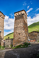 Stone medieval Svaneti tower houses of  Ushguli, Upper Svaneti, Samegrelo-Zemo Svaneti, Mestia, Georgia. Ushguli is a group of four remote villages. At 2,200 m (7217 ft) above sea level in the Caucasus mountains these are the highest inhabited villages in Europe. Chazhashi has 13 well preserved stone Svanetian defensive tower houses attached to stone family houses. A UNESCO World Heritage Site.