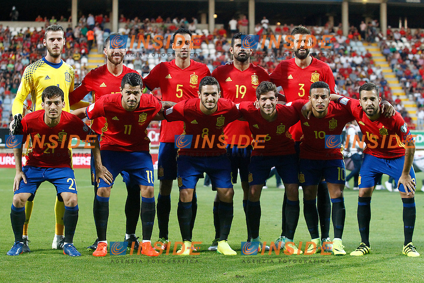 Spain's team photo with David De Gea, Sergio Ramos, Sergio Busquets, Diego Costa, Gerard Pique, David Silva, Vitolo, Koke Resurreccion, Sergi Roberto, Thiago Alcantara and Jordi Alba during FIFA World Cup 2018 Qualifying Round match. September 5,2016.(ALTERPHOTOS/Acero)<br /> Spagna - Liechtenstein <br /> Foto Insidefoto <br /> ITALY ONLY