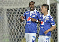 BOGOTÁ -COLOMBIA, 26-06-2013. Wason Rentería (I) y Fredy Montero de Millonarios celebra un gol en contra de Deportivo Cali durante partido de los cuadrangulares finales, fecha 4, de la Liga Postobón 2013-1 jugado en el estadio el Campín de la ciudad de Bogotá./ Wason Renteria (R) of Millonarios celebrates a goal  against Deportivo Cali during match of the final quadrangular 4th date of Postobon  League 2013-1 at El Campin stadium in Bogotá city. Photo: VizzorImage/STR