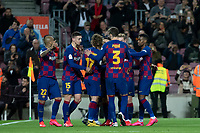 30th January 2020; Camp Nou, Barcelona, Catalonia, Spain; Copa Del Rey Football, Barcelona versus Leganes; FCBarcelona team celebrating their first goal from Griezmann in the 4th minute for 1-0