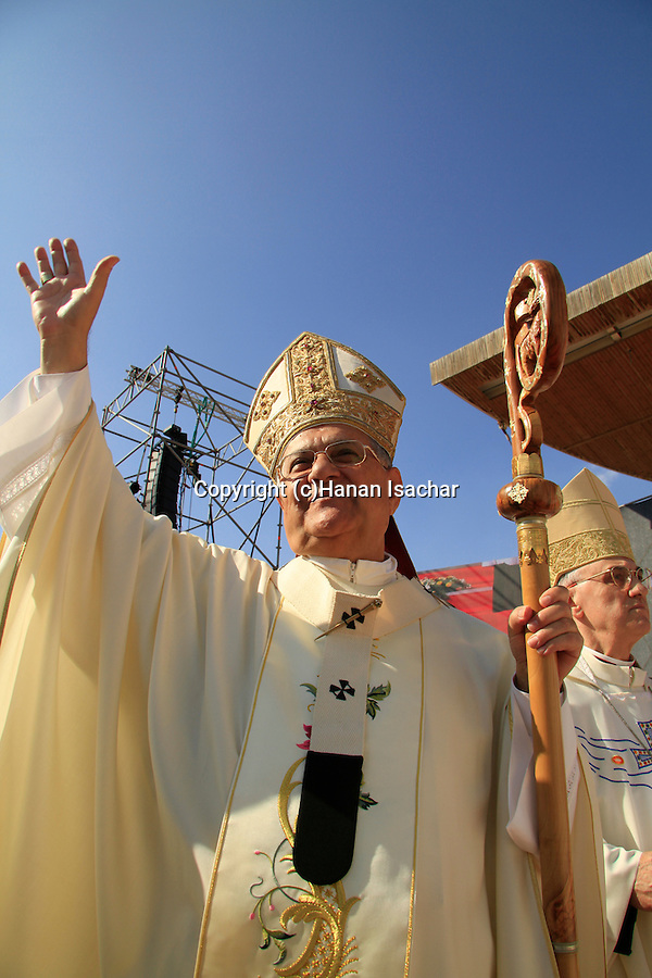 The Latin Patriarch of Jerusalem Fouad Twal at Mt. Precipice in Nazareth, on the International Day of Faith
