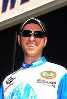 Nov 14, 2010; Pomona, CA, USA; NHRA top fuel dragster driver T.J. Zizzo during the Auto Club Finals at Auto Club Raceway at Pomona. Mandatory Credit: Mark J. Rebilas-