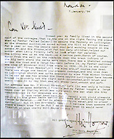 BNPS.co.uk (01202 558833)<br /> Pic: Strutt&amp;Parker/BNPS<br /> <br /> Letter to the current owner from Bogarde.<br /> <br /> A former 16th century shepherd's cottage that was the childhood home of 50s matinee idol Dirk Bogarde is now an idyllic country retreat for anyone who wants to get away from it all.<br /> <br /> The distinguished film actor and writer, star of Doctor in the House (1954), The Servant (1963) and A Bridge Too Far (1977), lived at Winton Fields as a teenager with his parents and siblings during holidays from his school in Scotland.<br /> <br /> The pretty flint house is on the edge of the highly sought after and picturesque village of Alfriston, East Sussex, and has stunning views of the South Downs National Park.<br /> <br /> It is now on the market with Strutt &amp; Parker for a guide price of &pound;950,000.