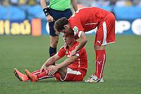 FUSSBALL WM 2014                ACHTELFINALE Argentinien - Schweiz                  01.07.2014 Xherdan Shaqiri (am Boden) und Admir Mehmedi (re, beide Schweiz)