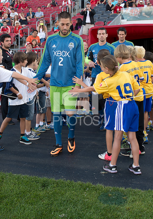 August 10, 2013: Seattle Sounders FC forward Clint Dempsey #2 walks onto the pitch before the opening ceremonies  in an MLS regular season game between the Seattle Sounders and Toronto FC at BMO Field in Toronto, Ontario Canada.<br /> Seattle Sounders FC won 2-1.