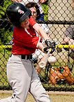 WATERBURY, CT-0712217JS11--Wolcott's Ty Devitta (3) rips a three RBI, in the park home run during their Roberto Clemente Tournament game against the BC Cyclones Saturday at Municipal Stadium in Waterbury. <br /> Jim Shannon Republican-American
