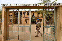 "MALI, Gao, catholic school , patrol of UN mission MINUSMA, soldier of Bundeswehr german army/ katholische Schule ECSG ""Ecole Catholique Soeur Geneviève"", Bundeswehr Soldaten der UN Minusma Friedensmission auf Patrouille"