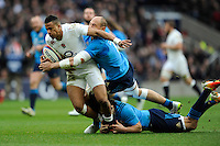 Anthony Watson of England is tackled by Sergio Parisse and Mauro Bergamasco of Italy during the RBS 6 Nations match between England and Italy at Twickenham Stadium on Saturday 14th February 2015 (Photo by Rob Munro)