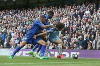 Manchester City's Leroy Sane holds off the challenge from Leicester City's Danny Simpson and Daniel Amartey<br /> <br /> Photographer Stephen White/CameraSport<br /> <br /> The Premier League - Manchester City v Leicester City - Saturday 13th May 2017 - Etihad Stadium - Manchester<br /> <br /> World Copyright &copy; 2017 CameraSport. All rights reserved. 43 Linden Ave. Countesthorpe. Leicester. England. LE8 5PG - Tel: +44 (0) 116 277 4147 - admin@camerasport.com - www.camerasport.com
