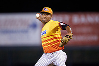 Los Rapidos de Kannapolis relief pitcher Jose Nin (32) in action against the West Virginia Power at Kannapolis Intimidators Stadium on July 25, 2018 in Kannapolis, North Carolina. The Los Rapidos defeated the Power 8-7 in game two of a double-header. (Brian Westerholt/Four Seam Images)