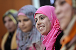 Young women in Gaza participate in a group discussion at the Alassria Cultural Center in the Jabalya refugee camp in the Gaza Strip. The center is supported by the American Friends Service Committee, a Quaker organization from the United States...