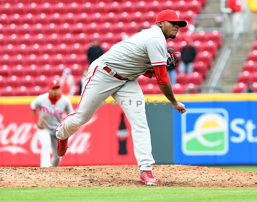 Philadelphia Phillies Edubray Ramos (61) during a game against the Cincinnati Reds on April 6, 2017 at Great American Ballpark in Cincinnati, OH. The Reds beat the Phillies 4-7.