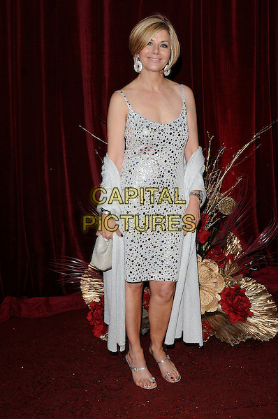 GLYNIS BARBER .The British Soap Awards 2010.The London Television Centre, London, England.8th May 2010.arrivals full length silver sequined sequin wrap dress sandals shiny sparkly embellished shawl pashmina .CAP/CAN.©Can Nguyen/Capital Pictures.