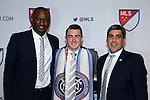 14 January 2016: Jack Harrison (ENG) (center), with NYCFC head coach Patrick Vieira (FRA) (left) and technical director Claudio Reyna (right), was selected with the #1 overall pick by the Chicago Fire then traded during the draft to New York City FC. The 2016 MLS SuperDraft was held at The Baltimore Convention Center in Baltimore, Maryland as part of the annual NSCAA Convention.