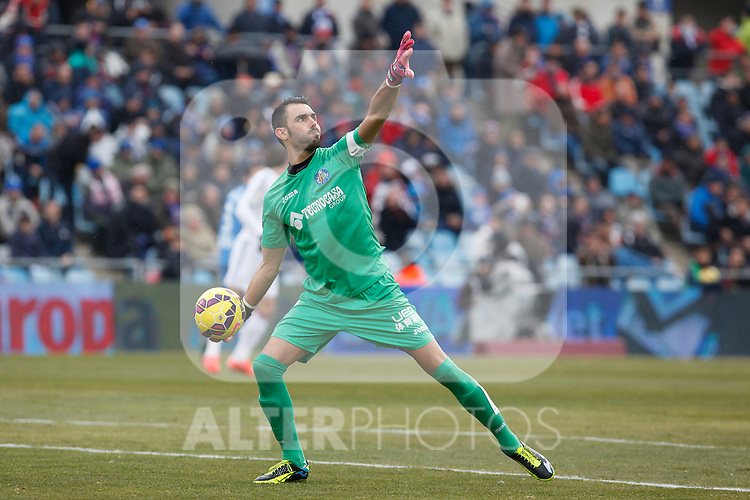 Getafe´s goalkeeper Codina during La Liga match at Coliseum Alfonso Perez stadium  in Getafe, Spain. January 18, 2015. (ALTERPHOTOS/Victor Blanco)