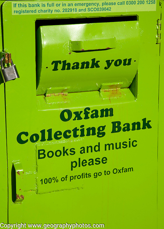 Oxfam green collecting bank for books and music, UK