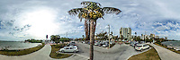 Coconut palm tree with coconuts near the Bayshore, Sarasota, Florida, March 2016.  360 degree panoramic scene photographed with a 360 degree camera.  (Photo by Brian Cleary/ www.bcpix.com)