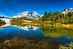 Mt. Ascension reflects on a small pond along Primrose Trail, Chugach National Forest, Kenai Peninsula, Southcentral Alaska, Spring.