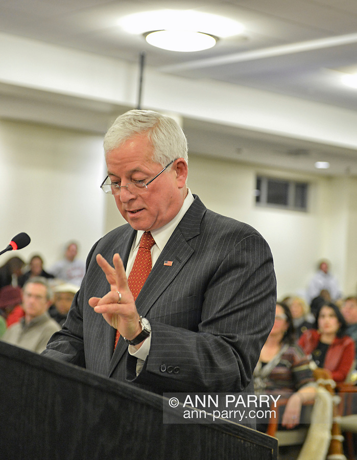 January 3, 2013 - Mineola, New York, U.S. - Assemblyman CHARLES LAVINE, District 13 in New York State Assembly, of Glen Cove, sspeaks against the proposed Republican map at the Nassau County Districting Advisory Commission's night time meeting on two Redistricting maps for the 19 Legislative Districts, one proposed by Republicans, one by Democrats. In the standing room only chambers, dozens shared their views with the commission during the Public Comment segment. After a brief recess, the commission voted at 10:40 PM for each map, neither of which passed. By January 5 it must complete its work for the Nassau Legislature, which must pass a Redistricting map by March 5, 2013.
