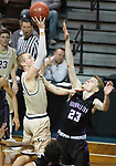 SIOUX FALLS, SD - MARCH 9:  Kyle Steigenga #32 of Cornerstone shoots over Troy Baker #23 of Southwestern at the 2018 NAIA DII Men's Basketball Championship at the Sanford Pentagon in Sioux Falls. (Photo by Dick Carlson/Inertia)