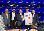 Kenta Maeda (Dodgers),<br /> JANUARY 7, 2016 - MLB : Newly signed Los Angeles Dodgers pitcher Kenta Maeda (#18) of Japan during his introductory press conference at Dodger Stadium in Los Angeles, California, United States.<br /> (L-R) Stan Kasten President &amp; CEO, Farhan Zaidi GM, Dave Roberts Manager, Kenta Maeda, Andrew Friedman President, Baseball Operations.<br /> (Photo by Thomas Anderson/AFLO) (JAPANESE NEWSPAPER OUT)