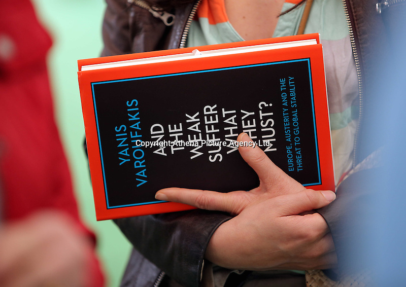 Hay on Wye, UK. Monday 30 May 2016<br />'And the weak suffer what must? book written by former Greek Finance Minister Yanis Varoufakis at the Hay Festival, Hay on Wye, Wales, UK