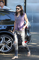Barefooted and gray haired? Russell Brand spotted walking back to his car without shoes! And notice - 37-year-old Russell seems to be getting a gray beard! Los Angeles, California on 19.07.2012..Credit: Correa/face to face.. / Mediapunchinc *** online only for the weekly magazines no print*** /*NORTEPHOTO.com*<br />