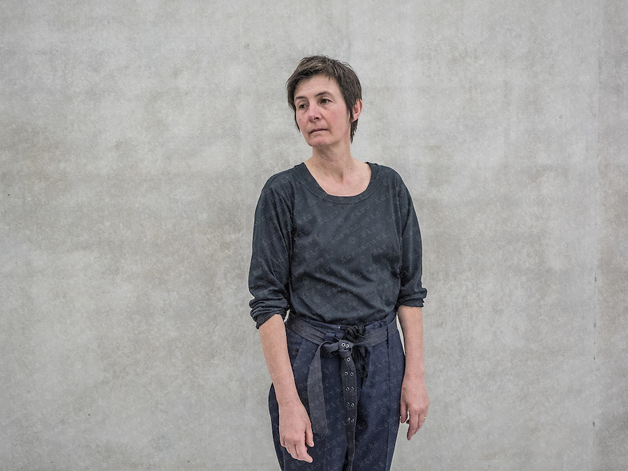 """Berlinde De Bruyckere poses for a Portrait in her """"The Embalmer"""" exhibition at the Kunstahaus Bregenz. The Belgium artist who lives and works in Ghent, is known for her sculpture in various media including wax, wood, wool, horse skin and hair, though she also works in watercolour, gouache."""