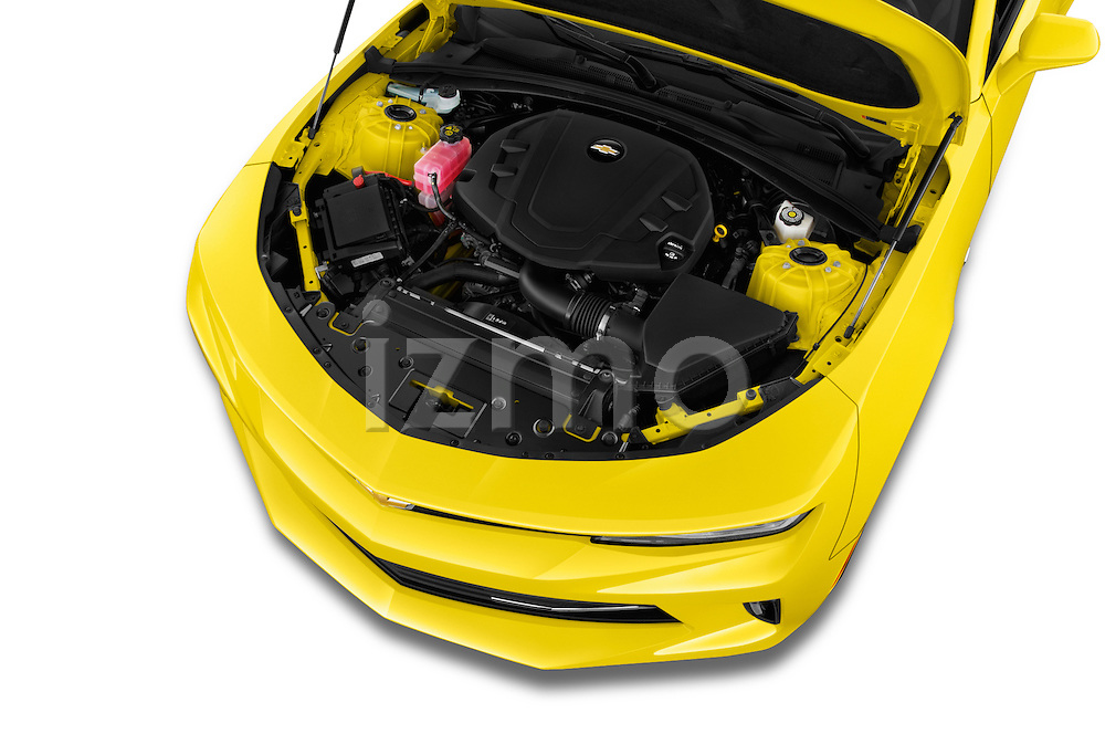 Car Stock 2018 Chevrolet CAMARO 2LT 2 Door coupe Engine  high angle detail view