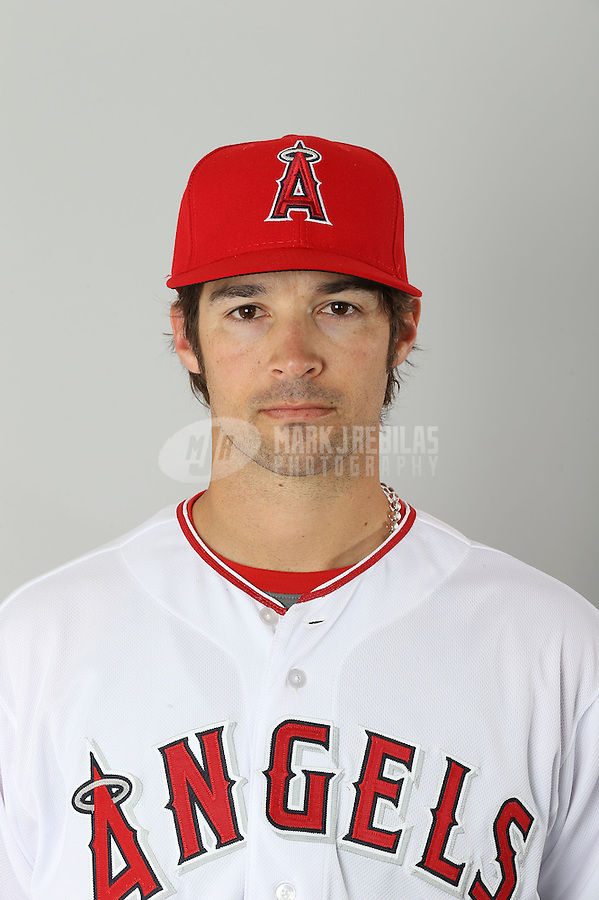 Feb. 20, 2013; Tempe, AZ, USA: Los Angeles Angels pitcher C.J. Wilson poses for a portrait during photo day at Tempe Diablo Stadium. Mandatory Credit: Mark J. Rebilas-