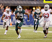 Michigan State Spartans running back Jeremy Langford (33) breaks off a long run during the third quarter of the Big Ten championship football game at Lucas Oil Stadium in Indianapolis on Dec. 7, 2013. (Adam Cairns / The Columbus Dispatch)