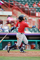 New Hampshire Fisher Cats shortstop Bo Bichette (5) follows through on a swing during a game against the Erie SeaWolves on June 20, 2018 at UPMC Park in Erie, Pennsylvania.  New Hampshire defeated Erie 10-9.  (Mike Janes/Four Seam Images)