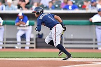 Mississippi Braves third baseman Luis Valenzuela (1) runs to first base during a game against the Tennessee Smokies at Smokies Stadium on April 12, 2017 in Kodak, Tennessee. The Braves defeated the Smokies 6-2. (Tony Farlow/Four Seam Images)