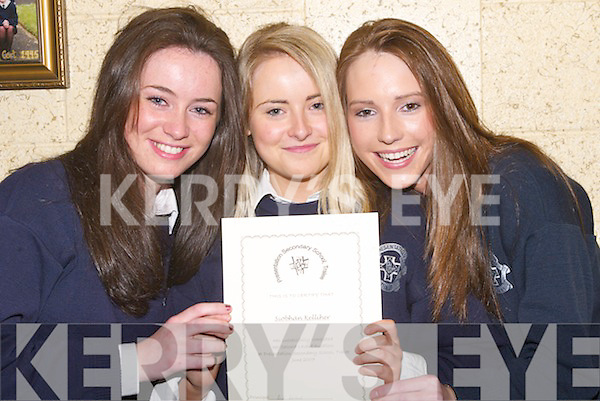 5398- 5405.PENDANTS: Claire Coughlin, Siobhan Kelliher and Maura Counihan from Presentation Secondary School, Tralee, were in great form after they were presented with the end of the year Pendants and Certificates on Thursday evening.. .