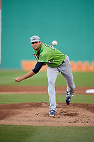 Lynchburg Hillcats starting pitcher Sam Hentges (23) delivers a pitch during a game against the Salem Red Sox on May 10, 2018 at Haley Toyota Field in Salem, Virginia.  Lynchburg defeated Salem 11-5.  (Mike Janes/Four Seam Images)
