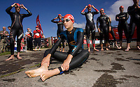 26 JUL 2008 - TREDEGAR, UK - Eventual winner Hollie Avil waits for the start of the British Elite Womens Triathlon Championships. (PHOTO (C) NIGEL FARROW)