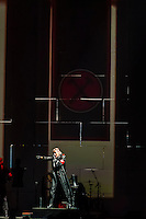 Roger Waters, a founding member and former bass player and lead vocalist of Pink Floyd, performs The Wall Live (an audio visual specatacle including 3D Animation and pyrotechnics) at the Pepsi Center, Denver, Colorado USA